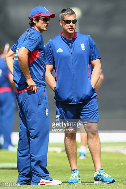 England captain Alastair Cook in discussion with coach Ashley Giles during the England nets session at Edgbaston on June 7 2013 in Birmingham England