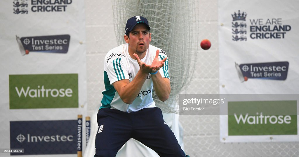 England captain <a gi-track='captionPersonalityLinkClicked' href=/galleries/search?phrase=Alastair+Cook+-+Jogador+de+cr%C3%ADquete&family=editorial&specificpeople=571475 ng-click='$event.stopPropagation()'>Alastair Cook</a> in fielding action during England Nets session ahead of the 2nd Investec Test match between England and Sri Lanka at Emirates Durham ICG on May 26, 2016 in Chester-le-Street, United Kingdom.