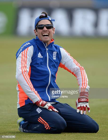 England captain Alastair Cook laughes during a nets session at Headingley Cricket Ground on May 28 2015 in Leeds United Kingdom