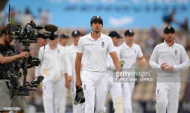 England captain Alastair Cook leads his team off the field of play after day two of the Third Investec Test match at the Ageas Bowl Southampton