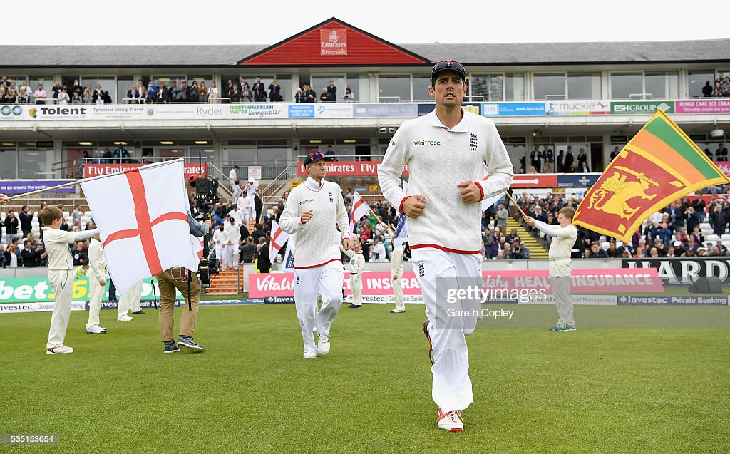 England captain <a gi-track='captionPersonalityLinkClicked' href=/galleries/search?phrase=Alastair+Cook+-+Cricket+Player&family=editorial&specificpeople=571475 ng-click='$event.stopPropagation()'>Alastair Cook</a> leads out his team ahead of day three of the 2nd Investec Test match between England and Sri Lanka at Emirates Durham ICG on May 29, 2016 in Chester-le-Street, United Kingdom.
