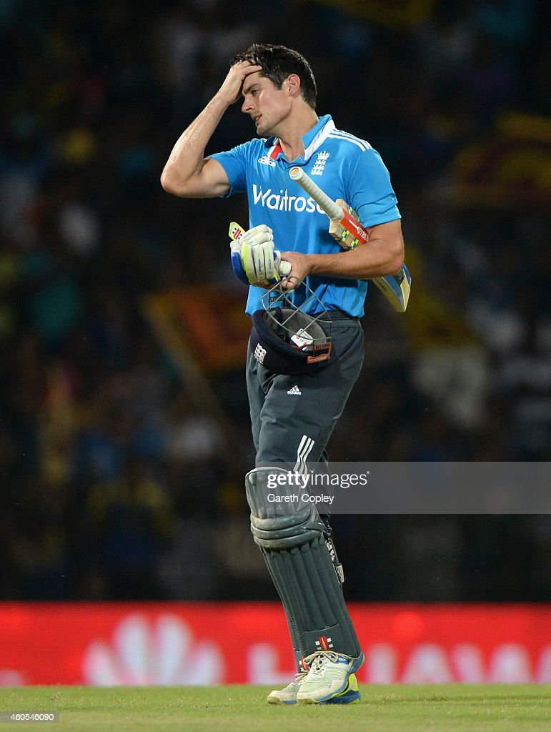 England captain Alastair Cook leaves the field after being dismissed by Suranga Lakmal of Sri Lanka during the 7th One Day International match between Sri Lanka and England at R. Premadasa Stadium on December 16, 2014 in Colombo, Sri Lanka.