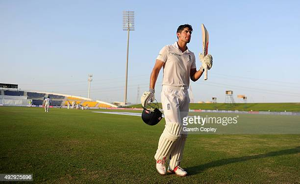England captain Alastair Cook leaves the field after being dismissed for 263 runs during day four of the 1st Test between Pakistan and England at...