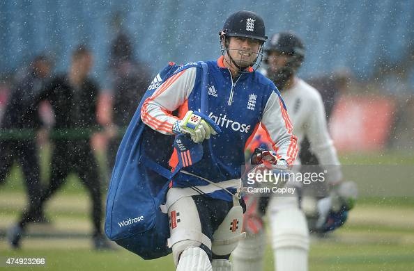 England captain Alastair Cook leaves the nets as a rain shower stops a nets session at Headingley Cricket Ground on May 28 2015 in Leeds United...