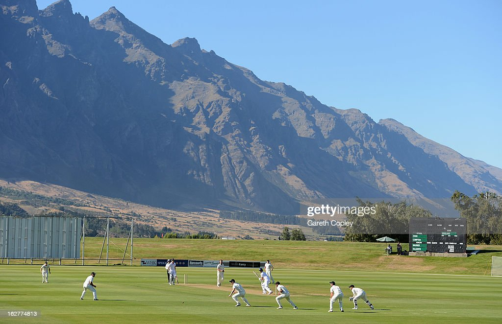 England captain Alastair Cook opens the batting in the first over during the International tour match between New Zealand XI and England at Queenstown Events Centre on February 27, 2013 in Queenstown, New Zealand.