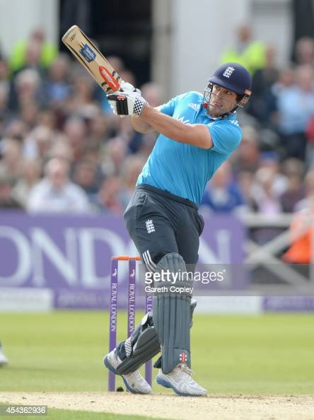 England captain Alastair Cook pulls the ball for four runs during the 3rd Royal London OneDay International match between England and India at Trent...