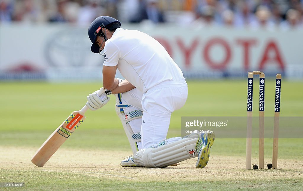 England captain Alastair Cook reacts after being bowled by Mitchell Marsh of Australia during day three of the 2nd Investec Ashes Test match between England and Australia at Lord's Cricket Ground on July 18, 2015 in London, United Kingdom.