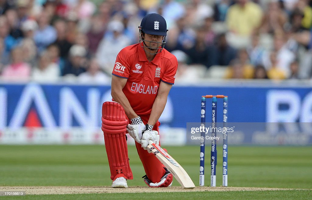 England captain <a gi-track='captionPersonalityLinkClicked' href=/galleries/search?phrase=Alastair+Cook+-+Cricket+Player&family=editorial&specificpeople=571475 ng-click='$event.stopPropagation()'>Alastair Cook</a> reacts after being caught behind by Matt Wade of Australia from bowling of Shane Watson during the ICC Champions Trophy group A match between England and Australia at Edgbaston on June 8, 2013 in Birmingham, England.