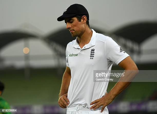 England captain Alastair Cook reacts after losing the second Test match between Bangladesh and England at ShereBangla National Cricket Stadium on...