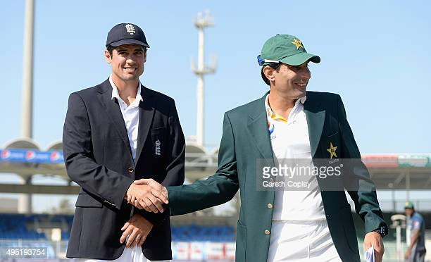 England captain Alastair Cook reacts after losing the toss to Pakistan captain MisbahulHaq ahead of day one of the 3rd Test between Pakistan and...