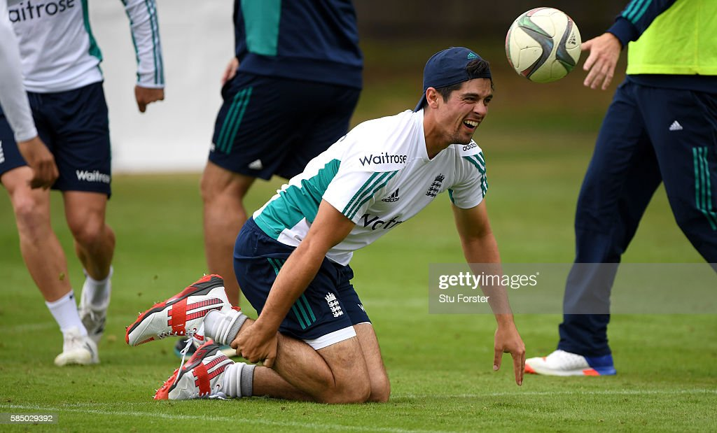 England captain Alastair Cook reacts during a game of football during England nets at Edgbaston on August 1 2016 in Birmingham England