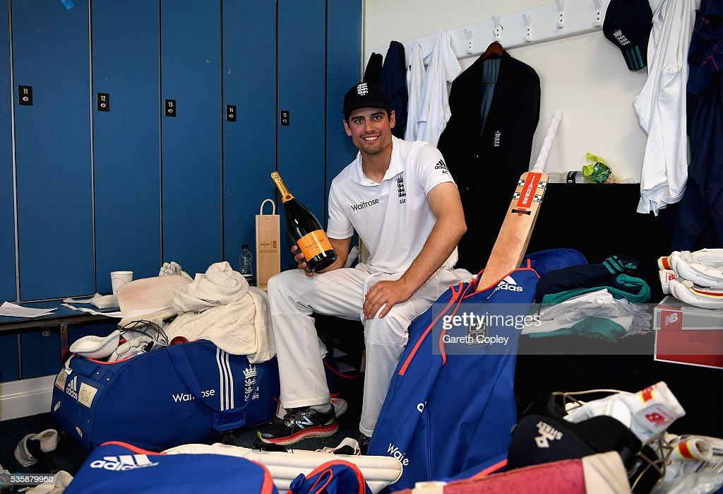 England captain <a gi-track='captionPersonalityLinkClicked' href=/galleries/search?phrase=Alastair+Cook+-+Kricketspelare&family=editorial&specificpeople=571475 ng-click='$event.stopPropagation()'>Alastair Cook</a> relaxes in the dressing room after reaching 10,000 test runs and winning the 2nd Investec Test match between England and Sri Lanka at Emirates Durham ICG on May 30, 2016 in Chester-le-Street, United Kingdom.
