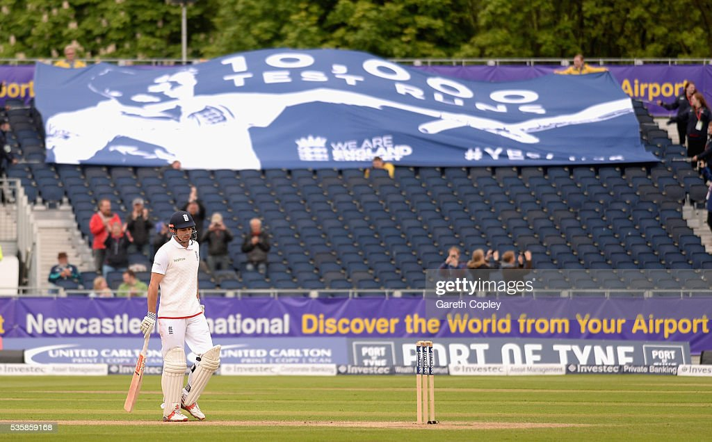 England captain <a gi-track='captionPersonalityLinkClicked' href=/galleries/search?phrase=Alastair+Cook+-+Cricket+Player&family=editorial&specificpeople=571475 ng-click='$event.stopPropagation()'>Alastair Cook</a> salutes the crowd after reaching 10,000 test runs during day four of the 2nd Investec Test match between England and Sri Lanka at Emirates Durham ICG on May 30, 2016 in Chester-le-Street, United Kingdom.