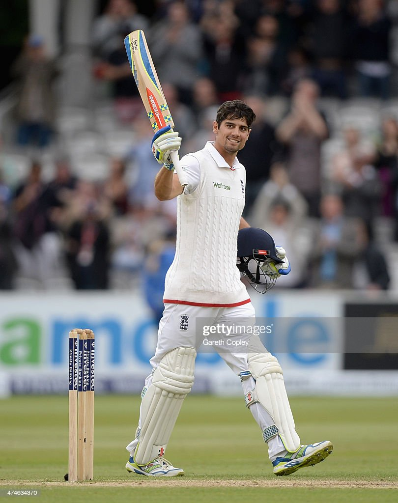 England captain <a gi-track='captionPersonalityLinkClicked' href=/galleries/search?phrase=Alastair+Cook+-+Cricket+Player&family=editorial&specificpeople=571475 ng-click='$event.stopPropagation()'>Alastair Cook</a> salutes the crowd after reaching 150 runs during day four of 1st Investec Test match between England and New Zealand at Lord's Cricket Ground on May 24, 2015 in London, England.