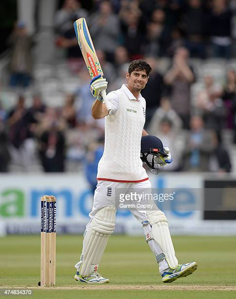 England captain Alastair Cook salutes the crowd after reaching 150 runs during day four of 1st Investec Test match between England and New Zealand at...