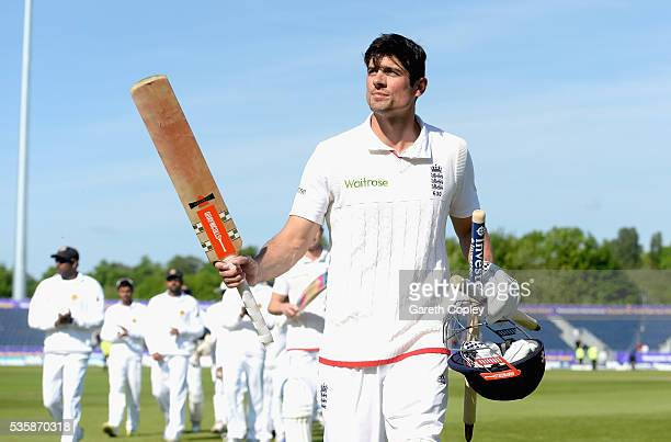 England captain Alastair Cook salutes the crowd as he leaves the field after winning the 2nd Investec Test match between England and Sri Lanka at...