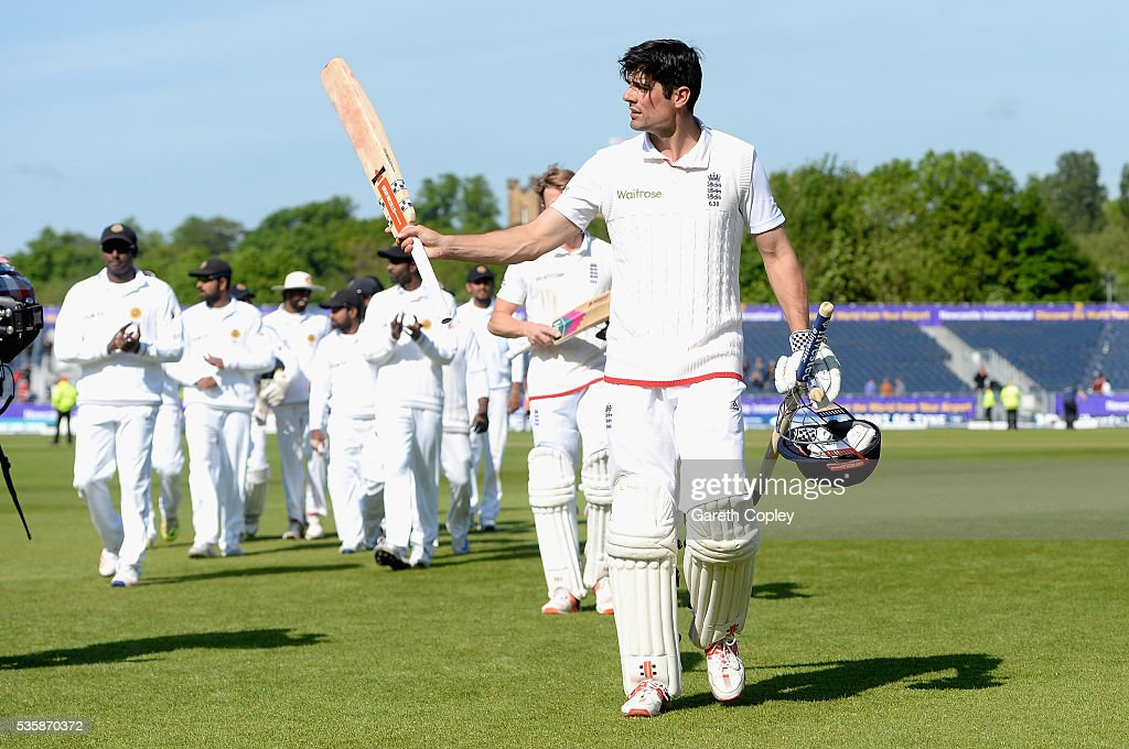 England captain <a gi-track='captionPersonalityLinkClicked' href=/galleries/search?phrase=Alastair+Cook+-+Cricket+Player&family=editorial&specificpeople=571475 ng-click='$event.stopPropagation()'>Alastair Cook</a> salutes the crowd as he leaves the field after winning the 2nd Investec Test match between England and Sri Lanka at Emirates Durham ICG on May 30, 2016 in Chester-le-Street, United Kingdom.