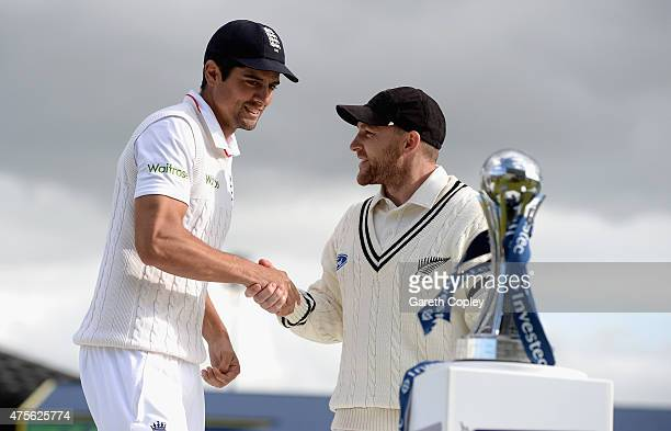 England captain Alastair Cook shakes hands with Brendon McCullum of New Zealand after drawing the Investec Test series between England and New...