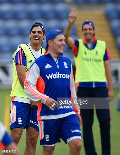 England captain Alastair Cook shares a joke with Gary Ballance and Steven Finn during England net practice at the Swalec stadium on July 5 2015 in...