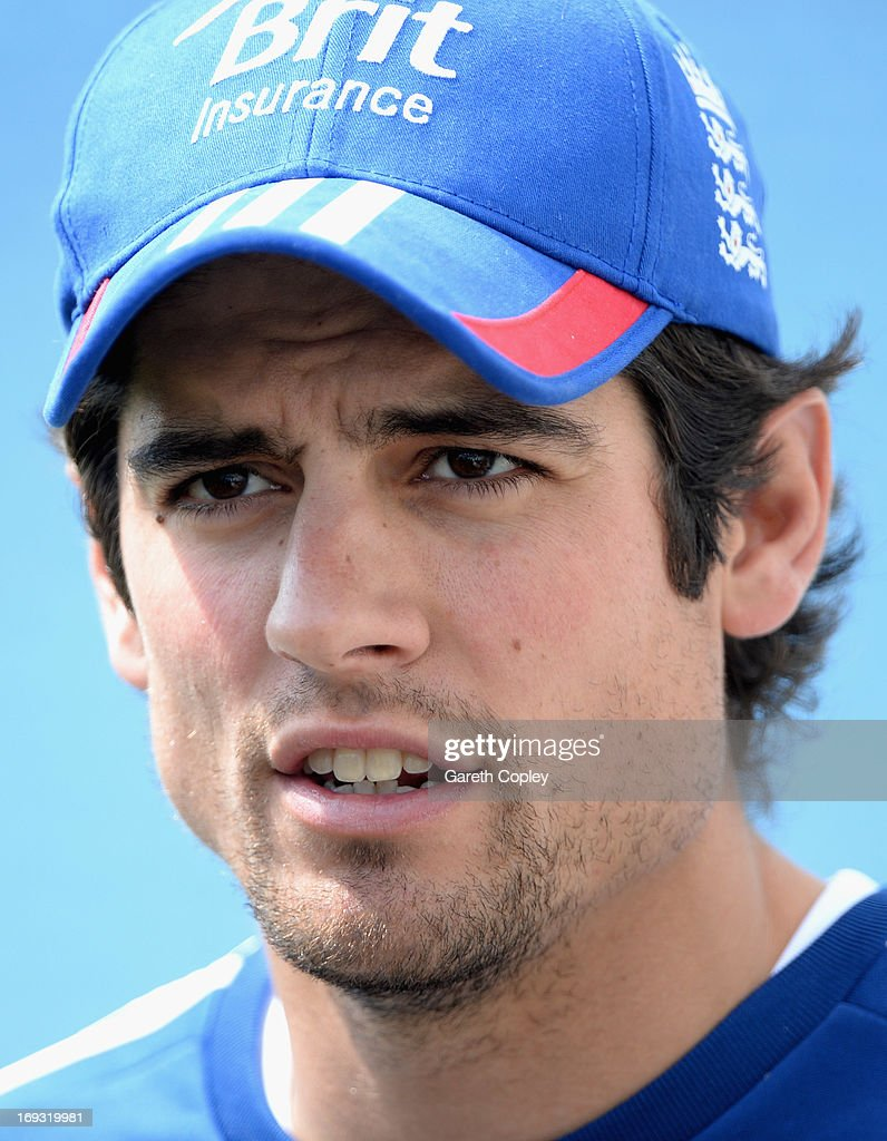 England captain <a gi-track='captionPersonalityLinkClicked' href=/galleries/search?phrase=Alastair+Cook+-+Cricket+Player&family=editorial&specificpeople=571475 ng-click='$event.stopPropagation()'>Alastair Cook</a> speaks during a press conference at Headingley on May 23, 2013 in Leeds, England.