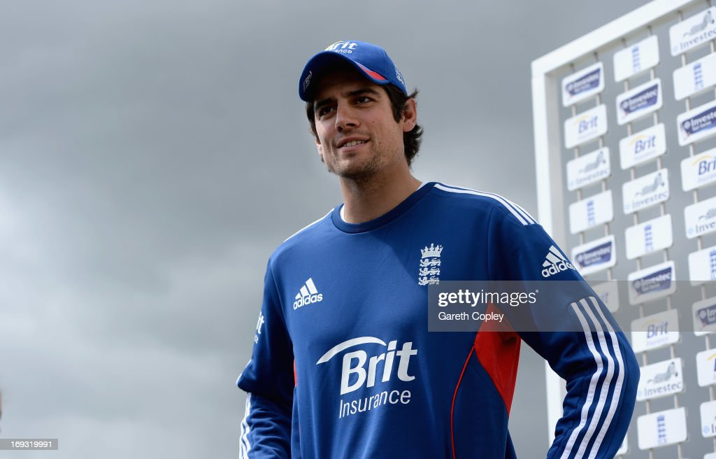 England captain Alastair Cook speaks during a press conference at Headingley on May 23, 2013 in Leeds, England.