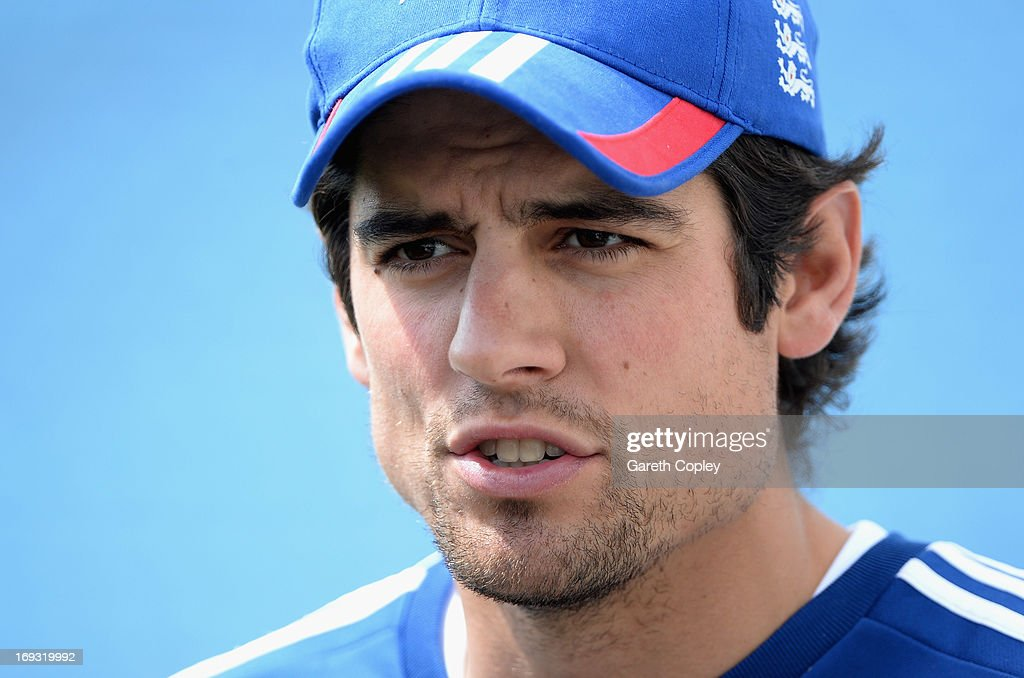 England captain <a gi-track='captionPersonalityLinkClicked' href=/galleries/search?phrase=Alastair+Cook+-+Cricketspeler&family=editorial&specificpeople=571475 ng-click='$event.stopPropagation()'>Alastair Cook</a> speaks during a press conference at Headingley on May 23, 2013 in Leeds, England.