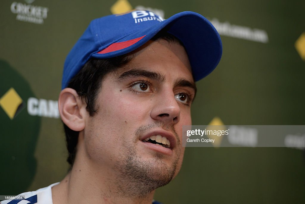 England captain <a gi-track='captionPersonalityLinkClicked' href=/galleries/search?phrase=Alastair+Cook+-+Cricket+Player&family=editorial&specificpeople=571475 ng-click='$event.stopPropagation()'>Alastair Cook</a> speaks during a press conference at WACA on October 26, 2013 in Perth, Australia.