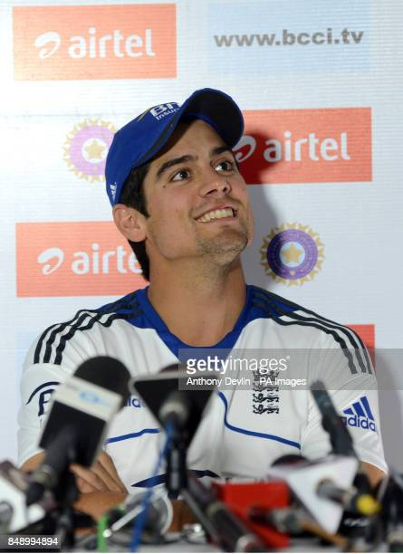 England captain Alastair Cook speaks to the media during a press conference at the Sardar Patel Stadium Ahmedabad India