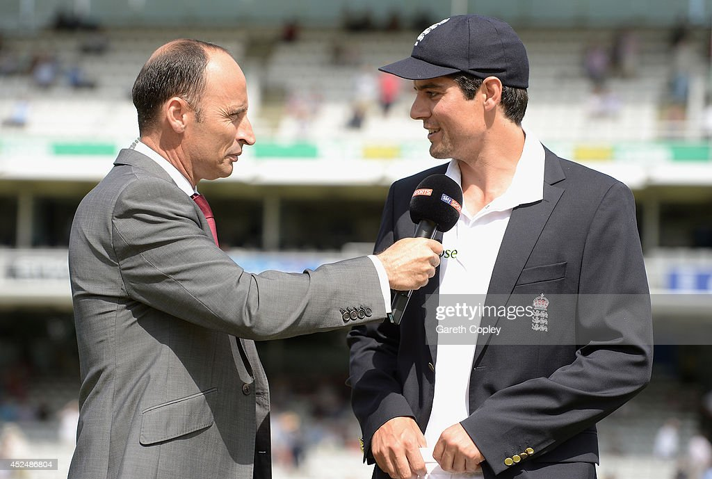 England captain <a gi-track='captionPersonalityLinkClicked' href=/galleries/search?phrase=Alastair+Cook+-+Cricket+Player&family=editorial&specificpeople=571475 ng-click='$event.stopPropagation()'>Alastair Cook</a> speaks with <a gi-track='captionPersonalityLinkClicked' href=/galleries/search?phrase=Nasser+Hussain&family=editorial&specificpeople=171724 ng-click='$event.stopPropagation()'>Nasser Hussain</a> ahead of day one of 2nd Investec Test match between England and India at Lord's Cricket Ground on July 17, 2014 in London, United Kingdom.