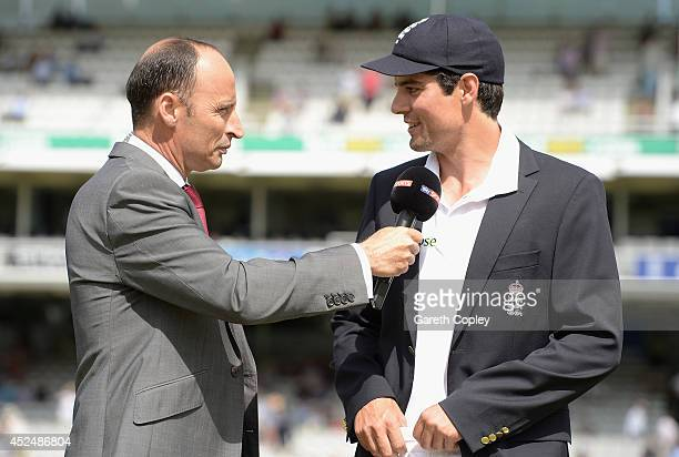 England captain Alastair Cook speaks with Nasser Hussain ahead of day one of 2nd Investec Test match between England and India at Lord's Cricket...