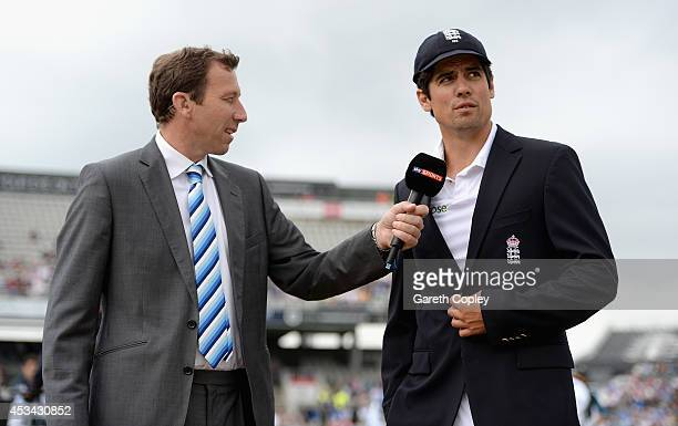 England captain Alastair Cook speaks with Sky Sports commentator Michael Atherton ahead of day one of 4th Investec Test match between England and...