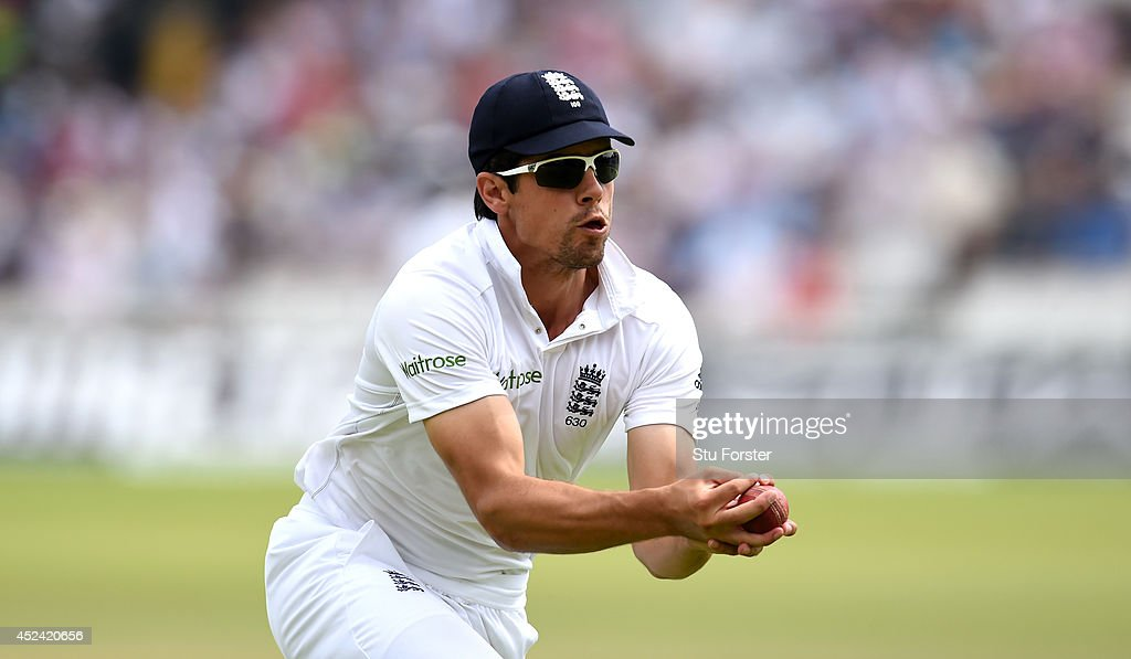 England captain <a gi-track='captionPersonalityLinkClicked' href=/galleries/search?phrase=Alastair+Cook+-+Cricket+Player&family=editorial&specificpeople=571475 ng-click='$event.stopPropagation()'>Alastair Cook</a> takes a catch to dismiss India batsman Stuart Binny during day four of 2nd Investec Test match between England and India at Lord's Cricket Ground on July 20, 2014 in London, United Kingdom.
