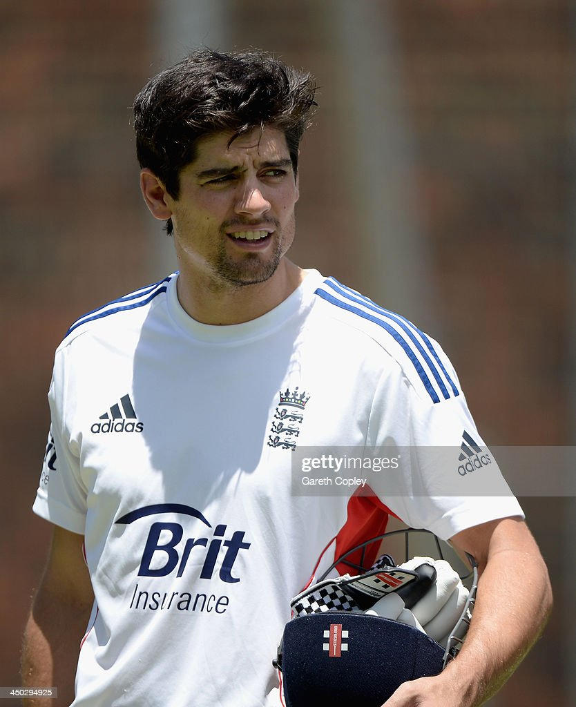 England captain <a gi-track='captionPersonalityLinkClicked' href=/galleries/search?phrase=Alastair+Cook+-+Cricket+Player&family=editorial&specificpeople=571475 ng-click='$event.stopPropagation()'>Alastair Cook</a> waits to bat during an England nets session at The Gabba on November 18, 2013 in Brisbane, Australia.