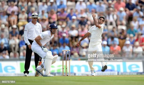 England captain Alastair Cook waits to run as India's Bhuvneshwar Kumar bowls during day one of the Third Investec Test match at the Ageas Bowl...