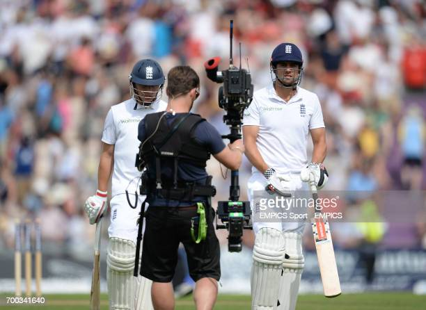 England captain Alastair Cook walks off the field of play at tea on day one of the Third Investec Test match at the Ageas Bowl Southampton