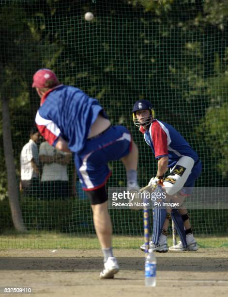 England captain Andrew Flintoff bats in the nets during a practice session at the Siri Fort Sports Complex Delhi India