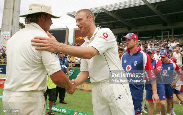 England captain Andrew Flintoff congratulates Australia's Shane Warne after England lose the 3rd Test match between Australia and England by 206 runs...