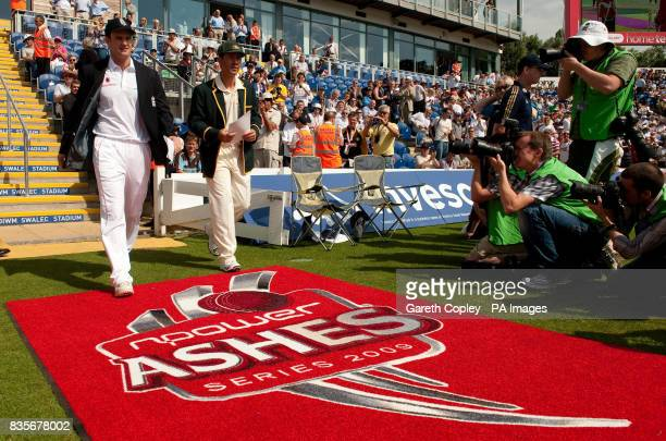 England captain Andrew Strauss and Australia's Ricky Ponting walk on to the field for the coin toss during day one of the first npower Test match at...