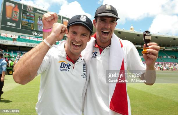 England captain Andrew Strauss and Kevin Pietersen celebrate after winning the fifth Ashes Test at the Sydney Cricket Ground Sydney Australia