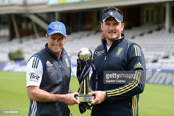 England captain Andrew Strauss and South Africa captain Graeme Smith pose with the Investec series trophy at The Kia Oval on July 18 2012 in London...