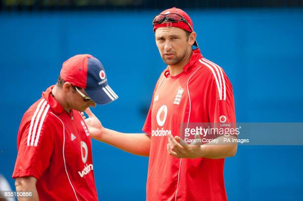 England captain Andrew Strauss and Steve Harmison during a nets session at St Marys Sports Ground Port of Spain Trinidad