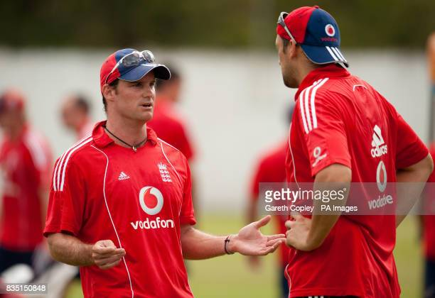 England captain Andrew Strauss and Steve Harmsion during a nets session at St Marys Sports Ground Port of Spain Trinidad