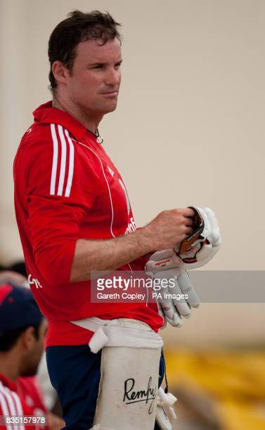 England captain Andrew Strauss during a nets session at St Marys Sports Ground Port of Spain Trinidad
