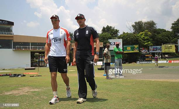 England captain Andrew Strauss has a chat with Andy Flower during the England nets session at the P Sara Stadium on April 2 2012 in Colombo Sri Lanka
