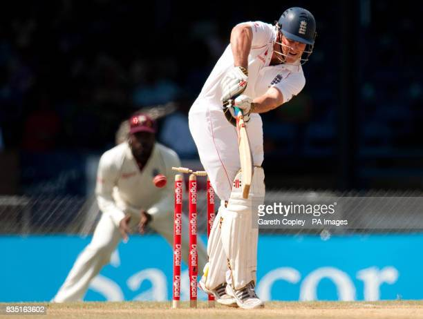 England captain Andrew Strauss is bowled by West Indies's Fidel Edwards during the fifth test at Queen's Park Oval Port of Spain Trinidad