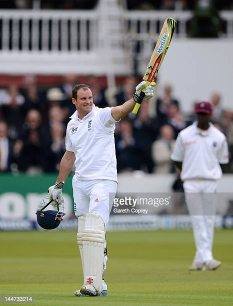 England captain Andrew Strauss salutes the crowd after reaching his century during day two of the first Test match between England and the West...