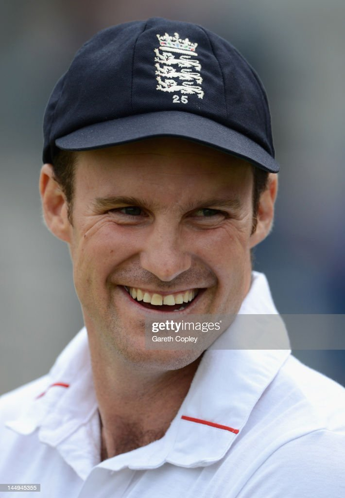 England captain <a gi-track='captionPersonalityLinkClicked' href=/galleries/search?phrase=Andrew+Strauss&family=editorial&specificpeople=157548 ng-click='$event.stopPropagation()'>Andrew Strauss</a> smiles after day five of the first Test match between England and the West Indies at Lord's Cricket Ground on May 21, 2012 in London, England.