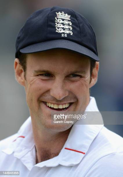 England captain Andrew Strauss smiles after day five of the first Test match between England and the West Indies at Lord's Cricket Ground on May 21...