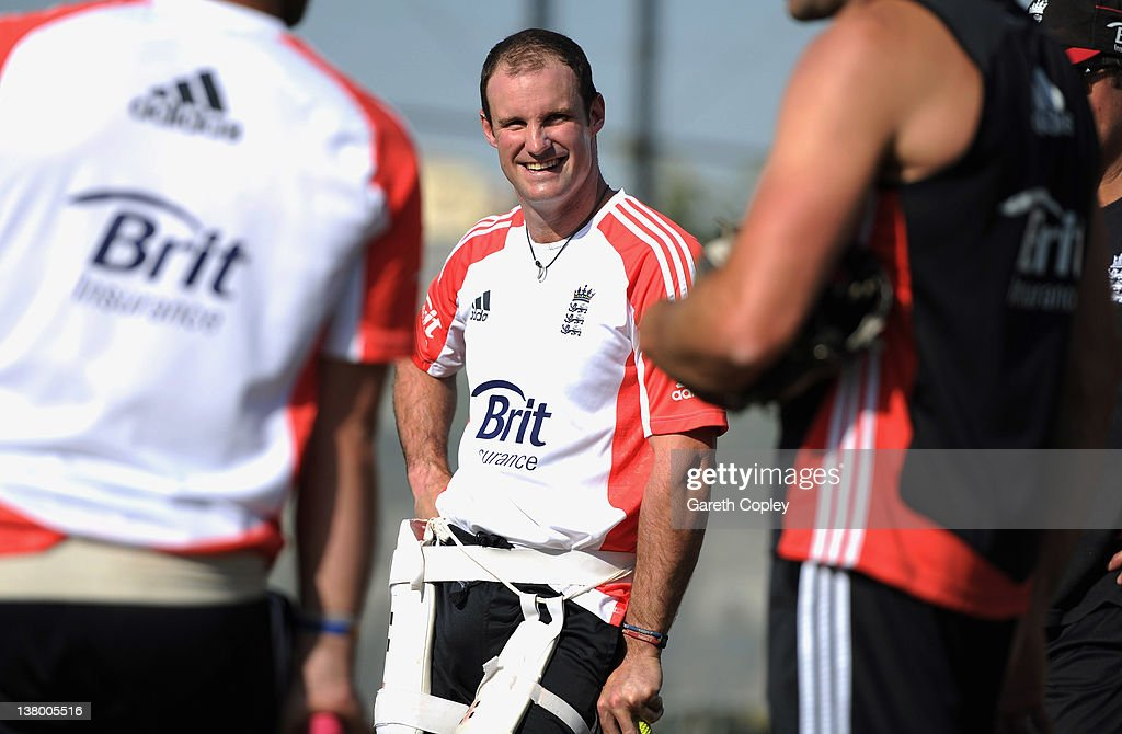 England captain <a gi-track='captionPersonalityLinkClicked' href=/galleries/search?phrase=Andrew+Strauss&family=editorial&specificpeople=157548 ng-click='$event.stopPropagation()'>Andrew Strauss</a> smiles during a nets session at the ICC Global Academy on January 31, 2012 in Dubai, United Arab Emirates.