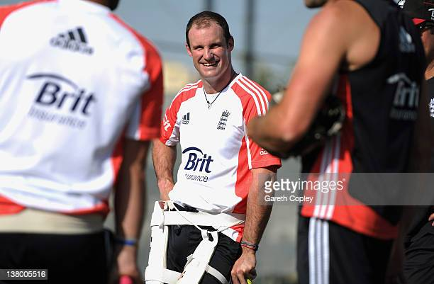 England captain Andrew Strauss smiles during a nets session at the ICC Global Academy on January 31 2012 in Dubai United Arab Emirates